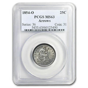 Click now to see the BUY IT NOW Price! 1854 O LIBERTY SEATED QUARTER MS 63 PCGS  ARROWS    SKU158632