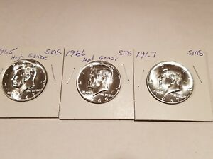 1965 '66 & 67 SMS KENNEDY HALF DOLLARS   BEAUTIFUL HIGH GRADE COINS