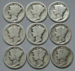 MERCURY DIME  1917 1919    LOT OF 9    PARTIALLY READABLE DATES