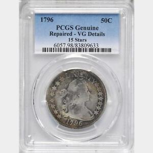 Click now to see the BUY IT NOW Price! 1796 DRAPED BUST HALF DOLLAR 15 STARS PCGS VG DETAILS REPAIRED FINE DETAILS