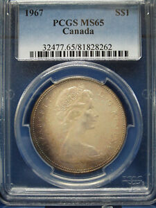 Click now to see the BUY IT NOW Price! 1967 CANADA SILVER DOLLAR $1 PCGS MS65 ELIZABETH II DOLLAR
