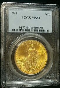 1924 $20 GOLD ST. GAUDENS PCGS MS64 CERTIFIED