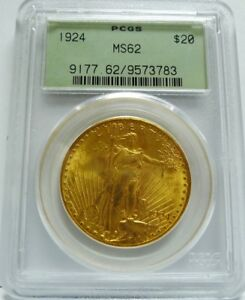 GORGEOUS 1924 $20 GOLD ST. GAUDENS  PCGS CERTIFIED MS62   MUST SEE PHOTOS   WOW
