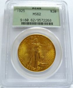 BEAUTIFUL 1925 $20 GOLD ST. GAUDENS  PCGS CERTIFIED MS62  SWEET  MUST SEE PICS