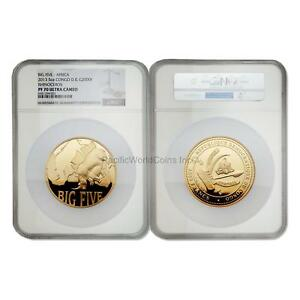 Click now to see the BUY IT NOW Price! CONGO 2013 RHINOCEROS BIG 5 2000 FRANCS 5 OZ GOLD NGC PF70 ULTRA CAMEO SKU6015