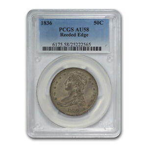 Click now to see the BUY IT NOW Price! 1836 CAPPED BUST HALF DOLLAR AU 58 PCGS  REEDED EDGE    SKU158072
