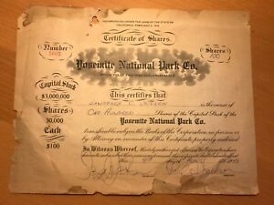 Click now to see the BUY IT NOW Price! YOSEMITE NATIONAL PARK COMPANY STOCK SHARES CERTIFICATE  DESMOND CAMP CURRY