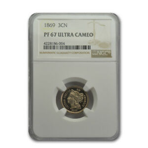 Click now to see the BUY IT NOW Price! 1869 THREE CENT NICKEL PR 67 UCAM NGC   SKU159510