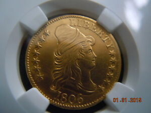 1806 KNOBBED 6 DRAPED BUST 5.00 GOLD HALF EAGLE NGC AU DETAILS BD 6 R 2