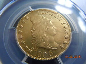 1806 POINTED 6 DRAPED BUST 5.00 GOLD HALF EAGLE PCGS  AU DETAILS BD 1 R 4 8X5