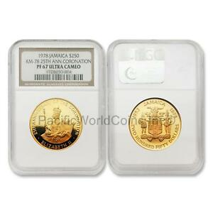 Click now to see the BUY IT NOW Price! JAMAICA 1978 CORONATION ANNIVERSARY $250 GOLD NGC PF67 ULTRA CAMEO SKU5779