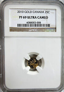 2010 CANADA GOLD 25C CARIBOU NGC PF 69