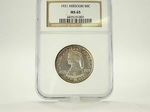 Click now to see the BUY IT NOW Price! 1921 MISSOURI 50 CENT UNCIRCULATED SILVER COMMEMORATIVE GRADED NGC MS 65