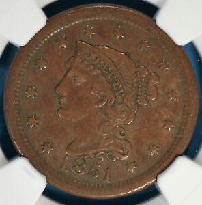 1851 BRAIDED HAIR LARGE CENT NGC AU55BN  NICE PATINA EYE APPEAL