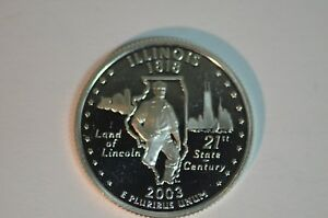 2003 S ILLINOIS PROOF  90  SILVER  STATE QUARTER    ITEM 491