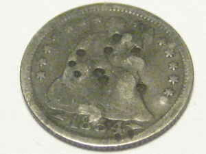 1854 P ARROWS SEATED LIBERTY HALF DIME