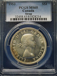 Click now to see the BUY IT NOW Price! 1953 CANADA SILVER DOLLAR $1 PCGS MS65 STRAP ELIZABETH II DOLLAR