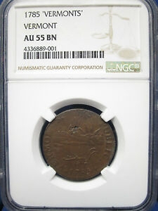 Click now to see the BUY IT NOW Price! 1785 1C VERMONT COLONIAL 1C NGC AU55
