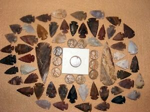 10 WHEAT &1 INDIAN CENT W/ 50 FLINT CHERT STONE ARROWHEADS/SPEARHEADS TEXAS 13