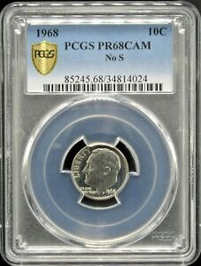 Click now to see the BUY IT NOW Price! 1968 ROOSEVELT 10C  NO S  PCGS PR 68 CAM