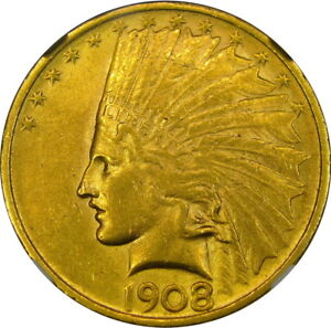 1908 $10 NGC AU58 CAC NO MOTTO INDIAN GOLD EAGLE   LOW MINTAGE OF 33 500