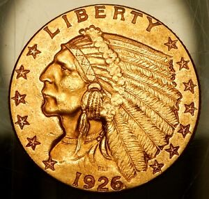1926 $2 1/2 INDIAN HEAD GOLD PIECE   XF