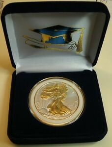 SPECIAL  GRADUATION GIFT NOW  1 OZ  2018  999 AM SILVER EAGLE $1CN 24KT GOLD HL