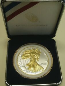 GIFT IDEA>1 OZ  2018 AM SILVER EAGLE$1COIN BU W/24KT GOLD GILDING W/WHT RIM PCS