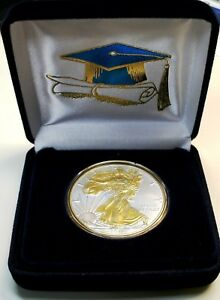 SPECIAL GRADUATION GIFT  1 OZ  2018  999 AM SILVER EAGLE $1 CN 24KT GOLD GILDED