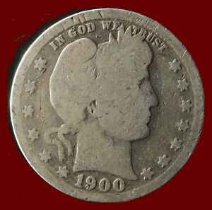 1900 P BARBER 90  SILVER QUARTER SHIPS FREE. BUY 5 FOR $2 OFF