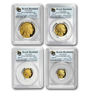 Click now to see the BUY IT NOW Price! 2008 W 4 COIN PRF GOLD BUFFALO SET PR 70 PCGS  FS BLACK DIAMOND    SKU172636