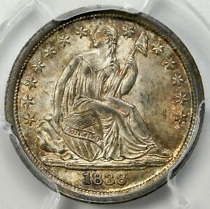 Click now to see the BUY IT NOW Price! R6   CAC 1838 PCGS MS64  NO DRAPERY LARGE STARS LIBERTY SEATED DIME