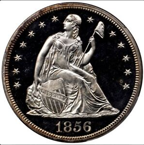 Click now to see the BUY IT NOW Price! 1856 $1  PROOF CAMEO  LIBERTY SEATED DOLLAR PCGS PR64CAM.   LESS THAN 8 EXIST