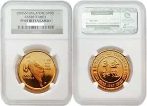 Click now to see the BUY IT NOW Price! SINGAPORE 1987 RABBIT X MB31 100S 1 OZ GOLD NGC PF69 ULTRA CAMEO