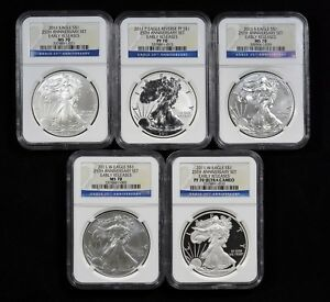 2011 SILVER EAGLE 5 COIN SET EACH NGC 70   EARLY RELEASES   25TH ANN. SET