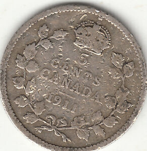 .925 SILVER 1911 GEORGE V 5 CENT PIECE G 4