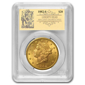 1882 S $20 LIBERTY GOLD DOUBLE EAGLE BU PCGS  PROSPECTOR LABEL    SKU163285