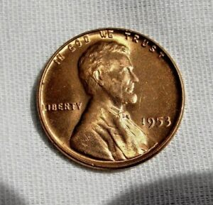 1953 P LINCOLN WHEAT CENT BEAUTIFUL RED BRILLIANT UNCIRCULATED   BU