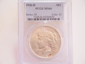 Click now to see the BUY IT NOW Price! 1926 D $1 PCGS MS66   PEACE SILVER DOLLAR   BRIGHT WHITE & LUSTROUS