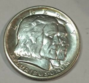 1936 SLIDER UNC LONG ISLAND COMMEMORATIVE SILVER HALF DOLLAR. FEW HAIRLINES.