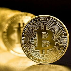 GOLD PLATED PHYSICAL BITCOINS CASASCIUS BIT COIN BTC WITH CASE GIFT PHYSICAL MET