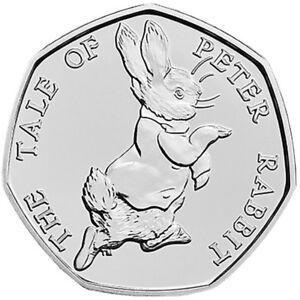 BRITISH BEATRIX POTTER 50P COIN   FROM SEALED BAG   THE TALE OF PETER RABBIT