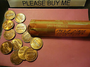 1983 P LINCOLN CENT ROLL     UNWEIGHED     > COMBINE POSTAGE <