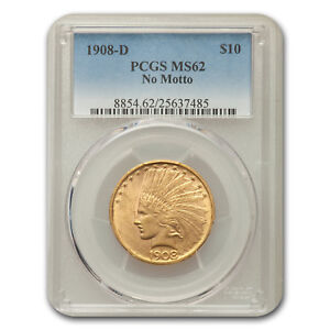 Click now to see the BUY IT NOW Price! 1908 D $10 INDIAN EAGLE NO MOTTO MS 62 PCGS