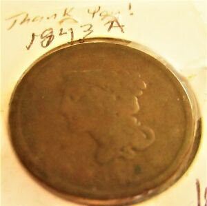 U.S. COIN BRAIDED HAIR 1843  A  LARGE PENNY