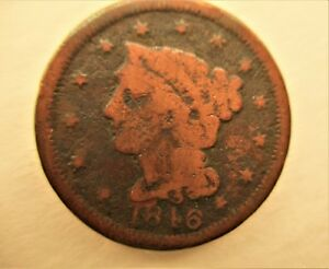 1846 U.S. COIN:BRAIDED HAIR LARGE PENNY  CENT