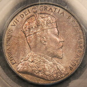 1906 CANADA SILVER 50 CENTS PCGS MS 63 LIGHT PASTEL COLORED TONING