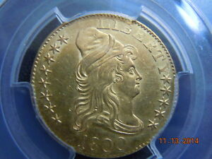 1800 DRAPED BUST 5.00 GOLD HALF EAGLE PCGS GRADED UNC DETAILS  BEAUTIFUL COIN