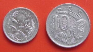 AUSTRALIA 1981 10 CENTS & 1989 5 CENTS VINTAGE COINS IN  COLLECTABLE GRADES