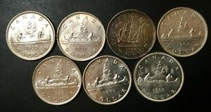 1935 1962 CANADA ONE DOLLAR SILVER COIN LOT  7 DATES